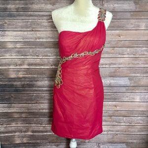 💯 Auth New Terani Couture Fuchsia Dress 8